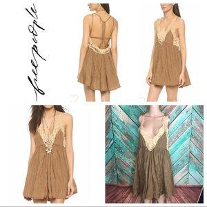 Free People Breathless Lace Crinkle Mini Dress